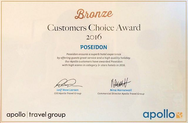 Our Apollo customers have awarded Poseidon Hotel - Apartments - Studios - Houses Paleochora with the Bronze Award in 2016!